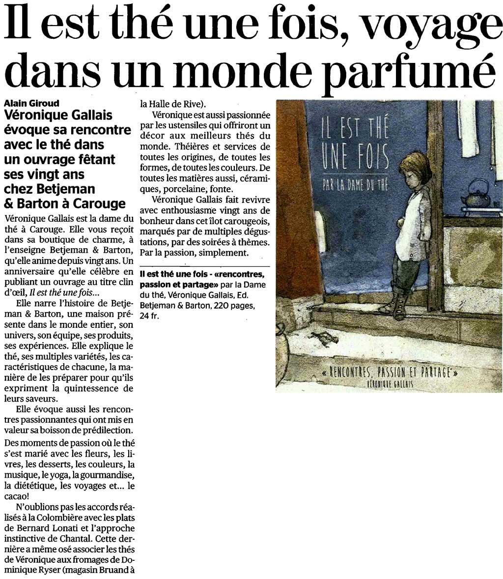 Barton dans la Tribune de Genève